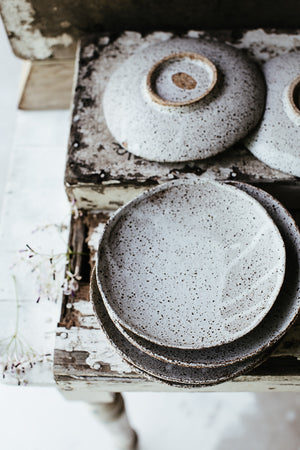 Footed Rustic speckle white shallow bowls/plates