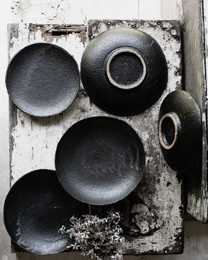 Black gritty ceramic footed bowl by clay beehive handmade