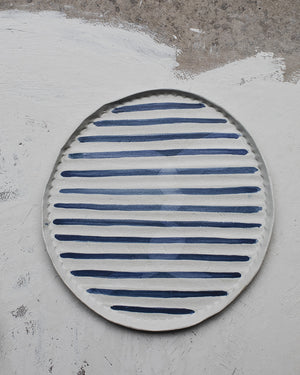 Large nautical blue and white platter plate by clay beehive ceramics