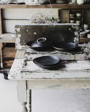 Black gritty ceramic footed bowl by clay beehive handmade beautiful studio