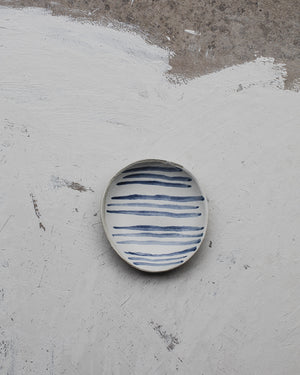 ceramic striped nautical small shallow bowl by clay beehive