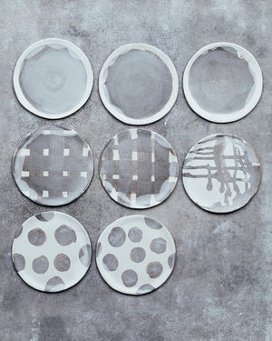 small hand made plates with matte gray and white glaze perfect for cakes and snacks by clay beehive ceramics