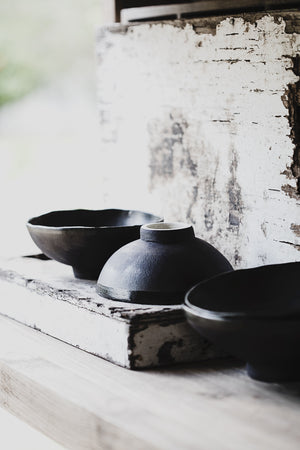 wabi sabi footed matte black bowls deeper interior noodles soups hand made by clay beehive ceramics