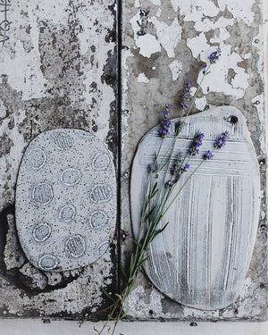 rustic platter handmade and glazed is matte grey and white by clay beehive ceramics