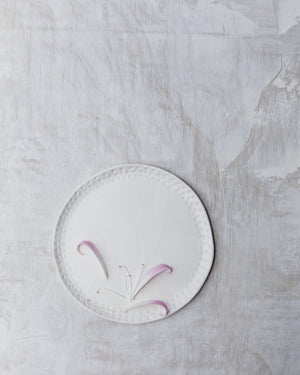 satin white plate handmade with carved rim and texture by clay beehive ceramics