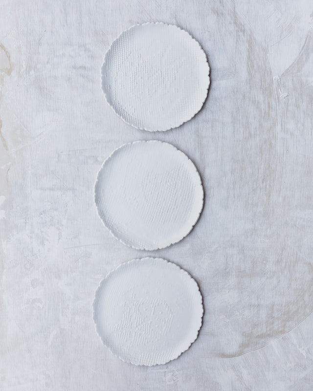 scallop edge satin white textured cake plates by clay beehive ceramics