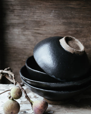 wabi sabi satin black japanese inspired footed hand made bowls by clay beehive