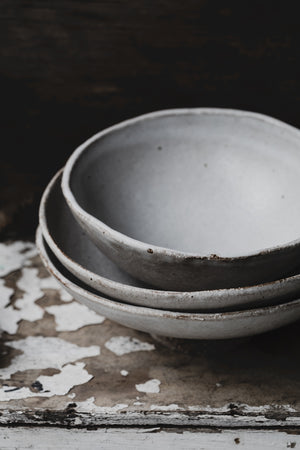 wabi sabi footed noodle bowls hand made by clay beehive ceramics