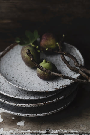 Footed Rustic white shallow bowls/plates