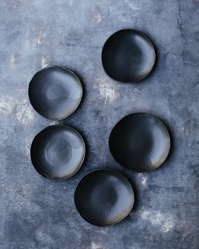 Satin black shallow bowls