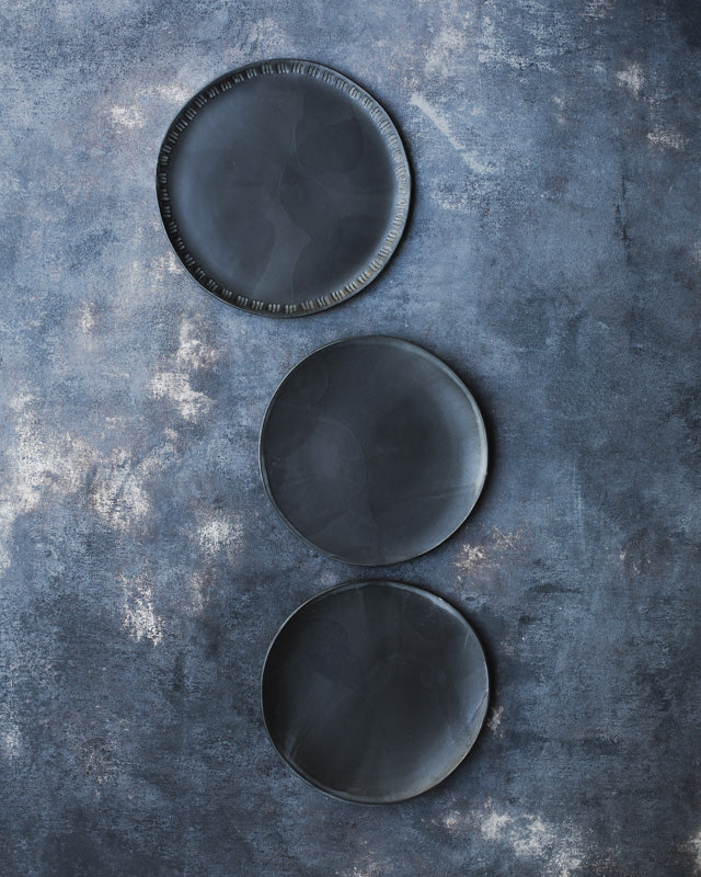 satin black hand made plates by clay beehive ceramics