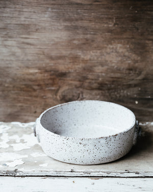 Rustic speckle white Dish with Decorative side tabs