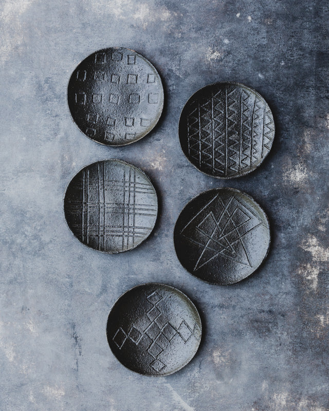 Small rustic satin black tapas hand made ceramic plates by clay beehive