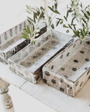 rustic hand made ceramic loaf pans for baking or making icecream by clay beehive ceramics