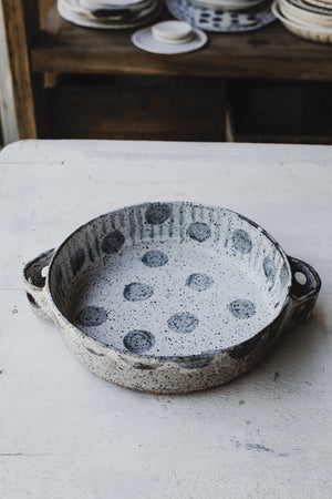 rustic baking dish handmade with handles by clay beehive ceramics
