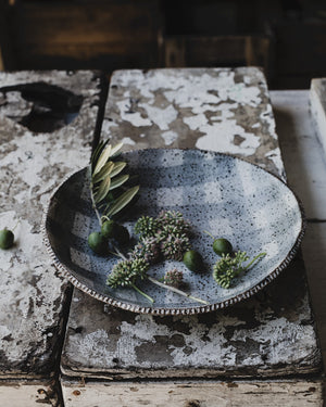 rustic hand made ceramic bowl with textured rim and tartan satin grey/white glazing by clay beehive