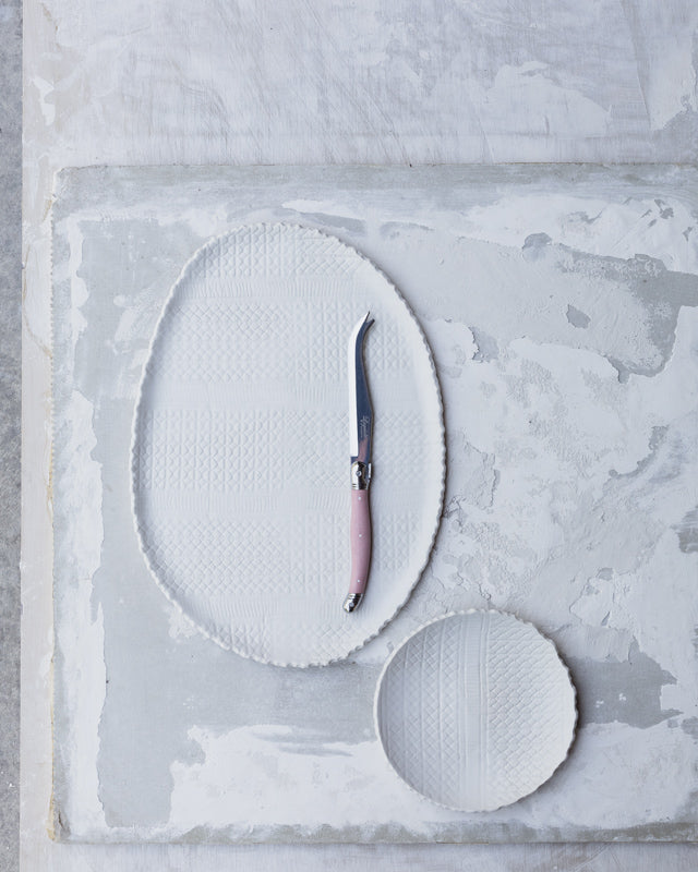 Large textured satin white serving platter / plate