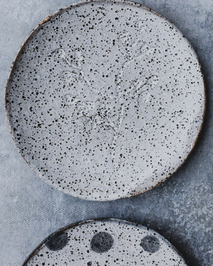 Rustic carved ceramic tapas plates handmade by clay beehive