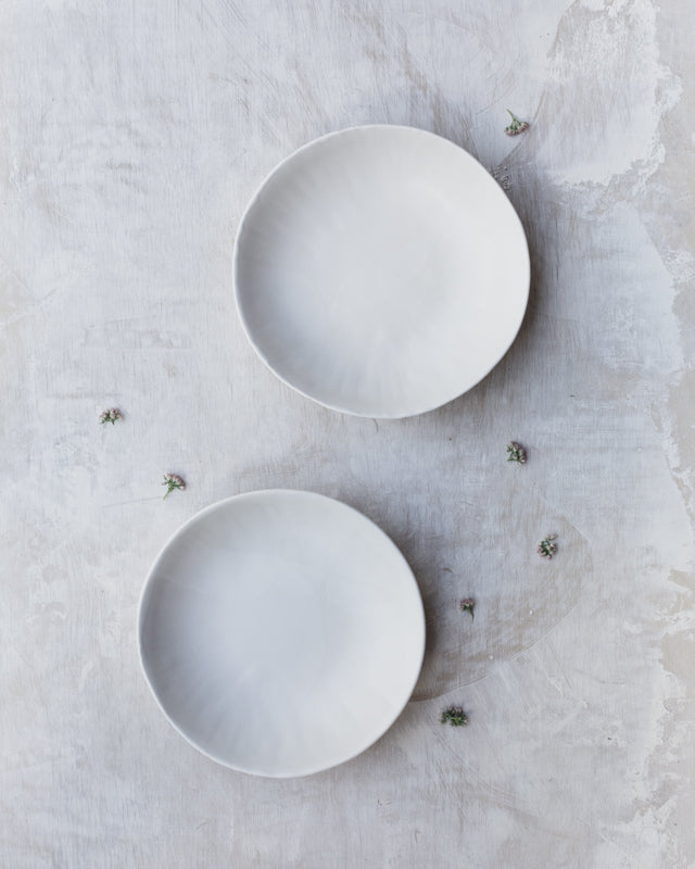 Satin white low wide bowls with lovely texture by clay beehive ceramics