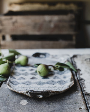 hand made ceramic rustic gritty platter  glazed in satin black and white by clay beehive