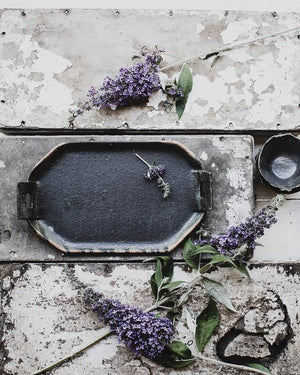wabi sabi rectangular platter in satin black hand made by clay beehive ceramics