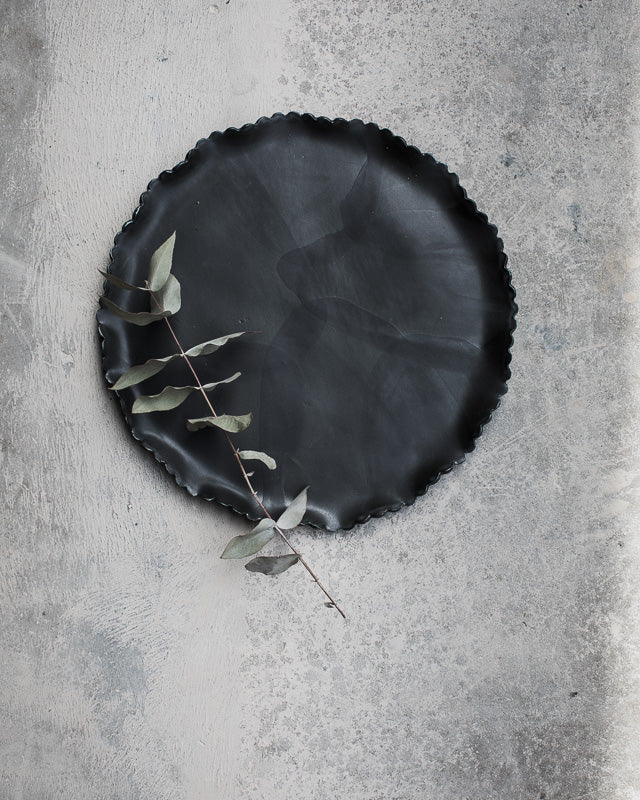 satin black scallop rim platter large would suit an 11 inch cake by clay beehive ceramic
