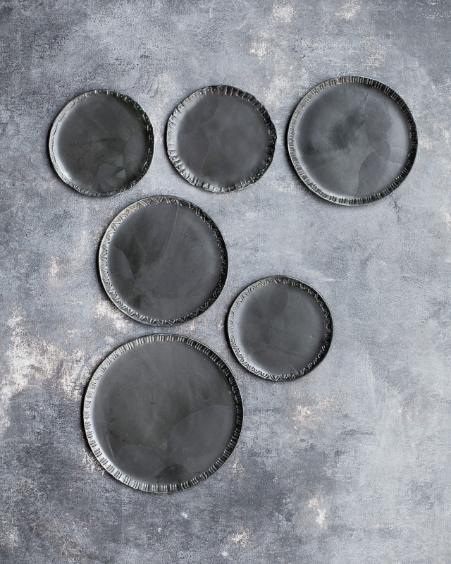 discounted seconds plates in black satin glaze