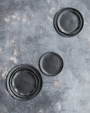 discounted seconds satin black glazed hand made plates