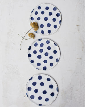 Navy Blue Polka dot & satin white plates 16cm