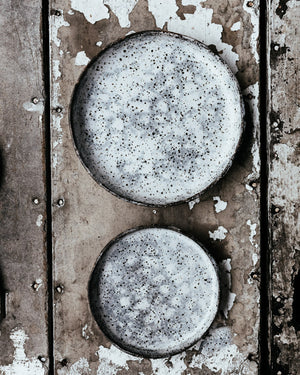rustic hand made gritty plates with high straight rims and grey and white leopard print by clay beehive ceramics