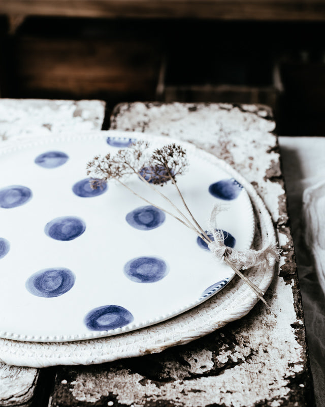 Large handmade platter plate 13 inches navy spot and satin white by clay beehive ceramics
