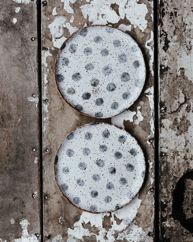 rustic gritty speckled spot handmade plates by clay beehive ceramics