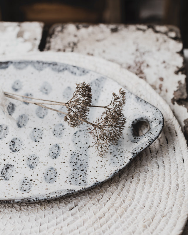 rustic grey and white platter hand made by clay beehive ceramics