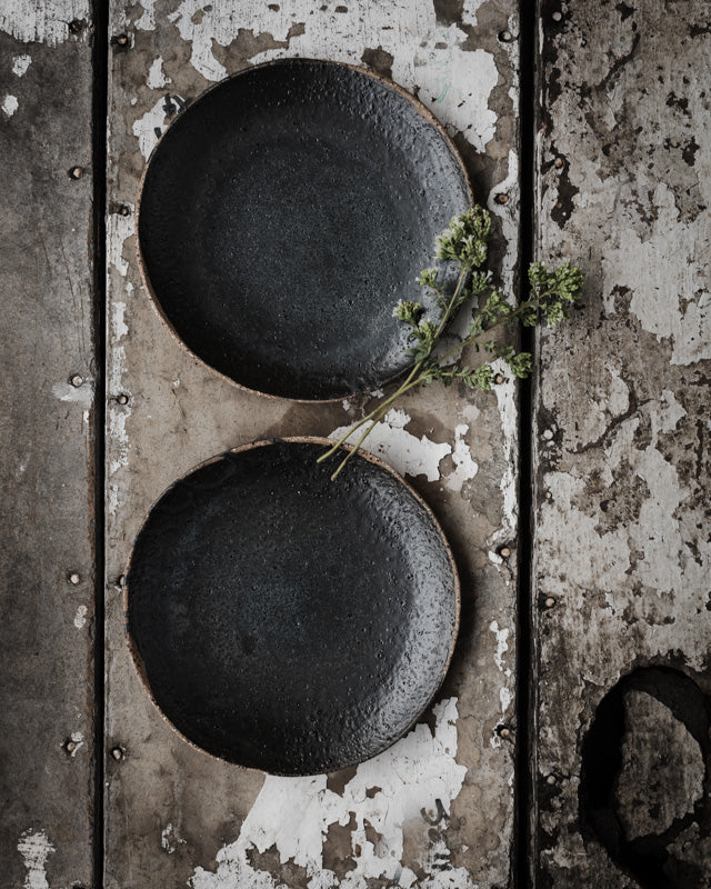rustic hand made matte black gritty shallow bowls / plates perfect for tapas by clay beehive ceramics