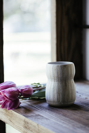 wheelthrown vase in white textural clay handmade by clay beehive ceramics