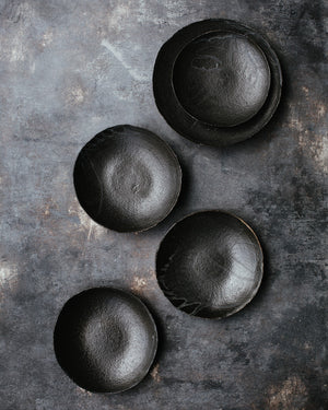 Gritty Black shallow bowls with and without foot