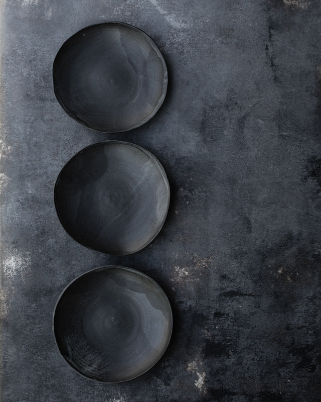 matte black ceramic shallow bowl/plate handmade by clay beehive ceramics