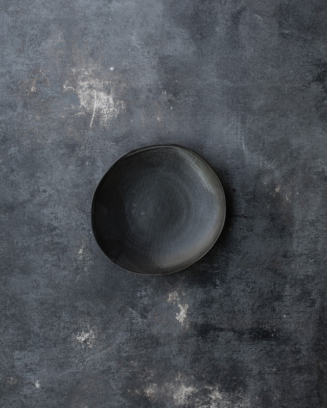 ceramic matte black bowl/plate by clay beehive