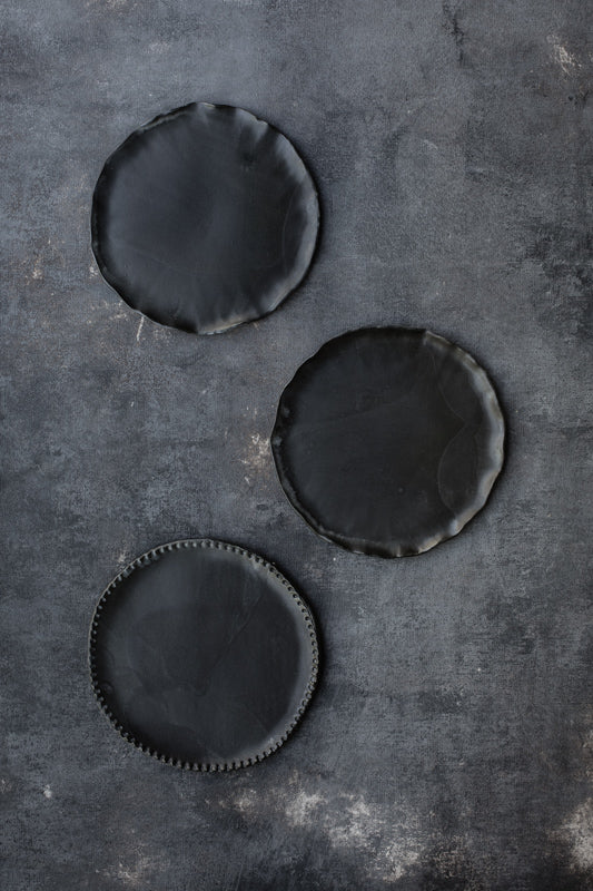satin black handmade cake plates with beautiful textured detailed rims by clay beehive ceramics