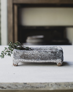 footed rustic handmade salt/pepper/condiment dish by clay beehive ceramics