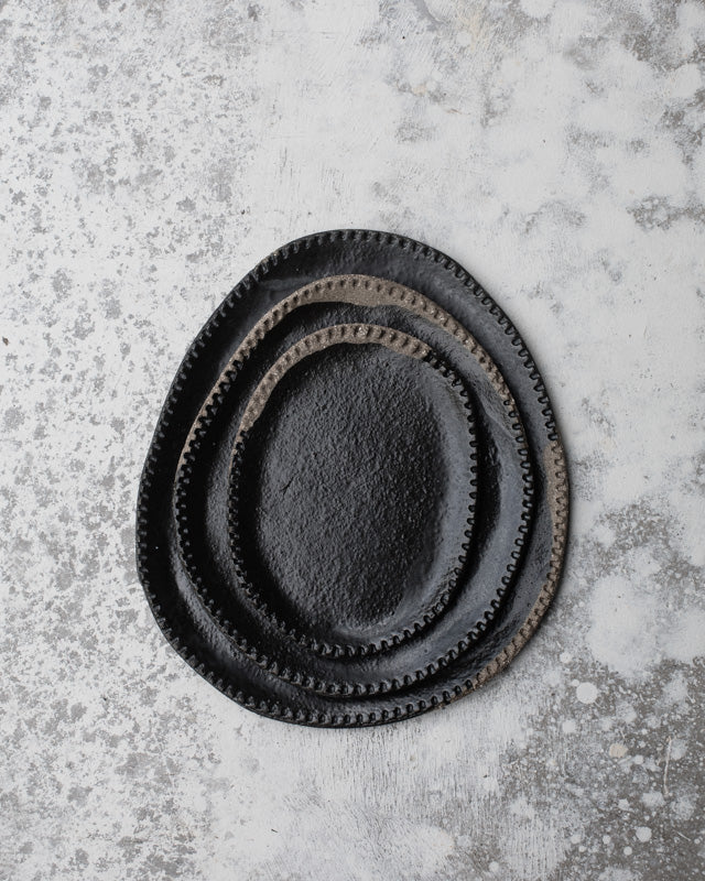 satin black oval plates dark stoneware perfect for antipasto by clay beehive ceramics