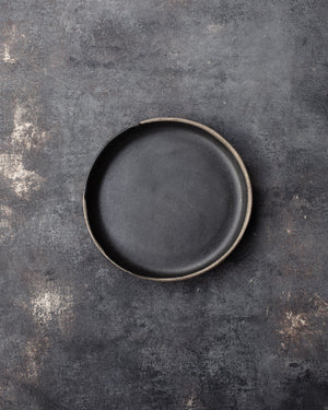 hand crafted slab built plate by clay beehive ceramics in satin black glaze