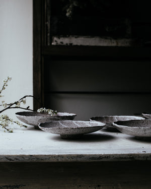 wabi sabi bowls with a lovely little turned foot handbuilt with a rustic gritty clay and white glaze