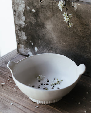 hand built ceramic colander/berry bowl created by clay beehive ceramics