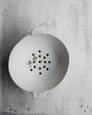 berry bowl / colander glazed in satin white handcrafted by clay beehive ceramics