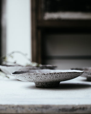 Beautiful ceramics by clay beehive shallow footed bowl handbuilt with rustic gritty clay