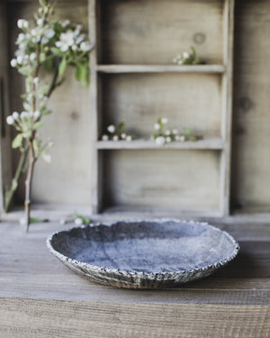 rustic serving bowl with textured rim and gritty clay by clay beehive ceramics