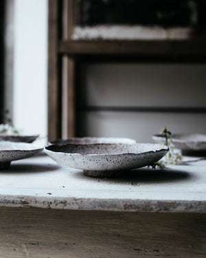 Footed Rustic white shallow bowls