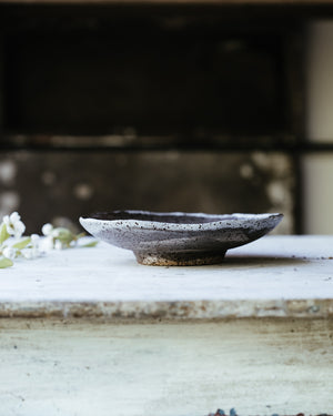 ceramic pottery handcrafted footed bowl with rustic clay made by clay beehive