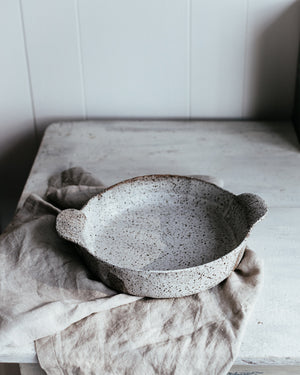 rustic baking dish with handles by clay beehive